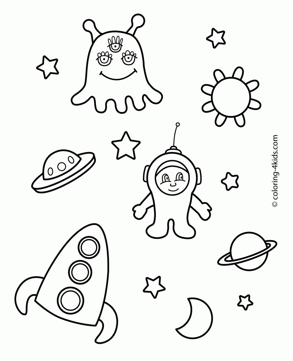 Space And Ufo Coloring Pages For Kids Printable Free Coloing Space ...