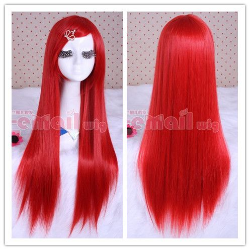 80cm long bright red straight cosplay hair wig CW280-C  ae9d9c9bd394