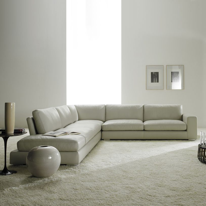 Lounge Designer Furniture: Relax Contemporary Italian Corner Sofa In Cream Leather