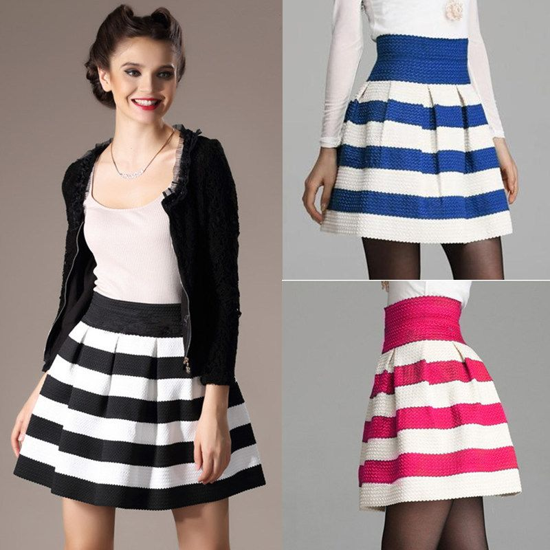 New Fashion Women Ball Gown Short Skirt Knitted Stripe Patchwork ...