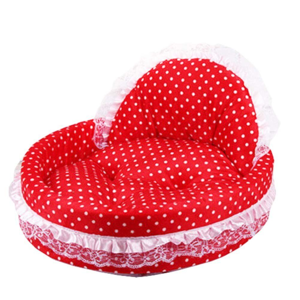 Small Coral Fleece Lace Heart-shapes Princess Cat Dog Pet Beds * Check out the image by visiting the link.