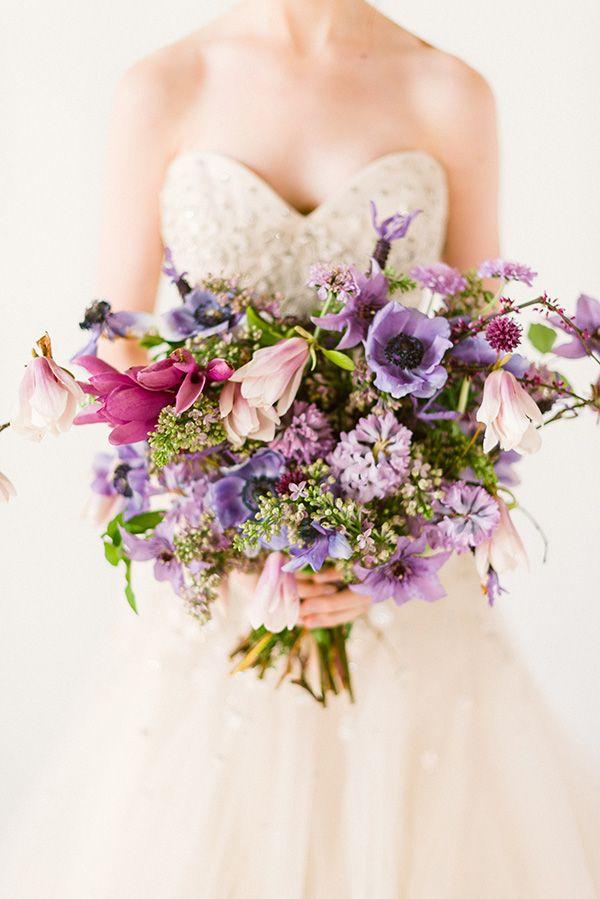 Occasions Magazine, Champagne Wedding Dresses | Purple bouquets ...
