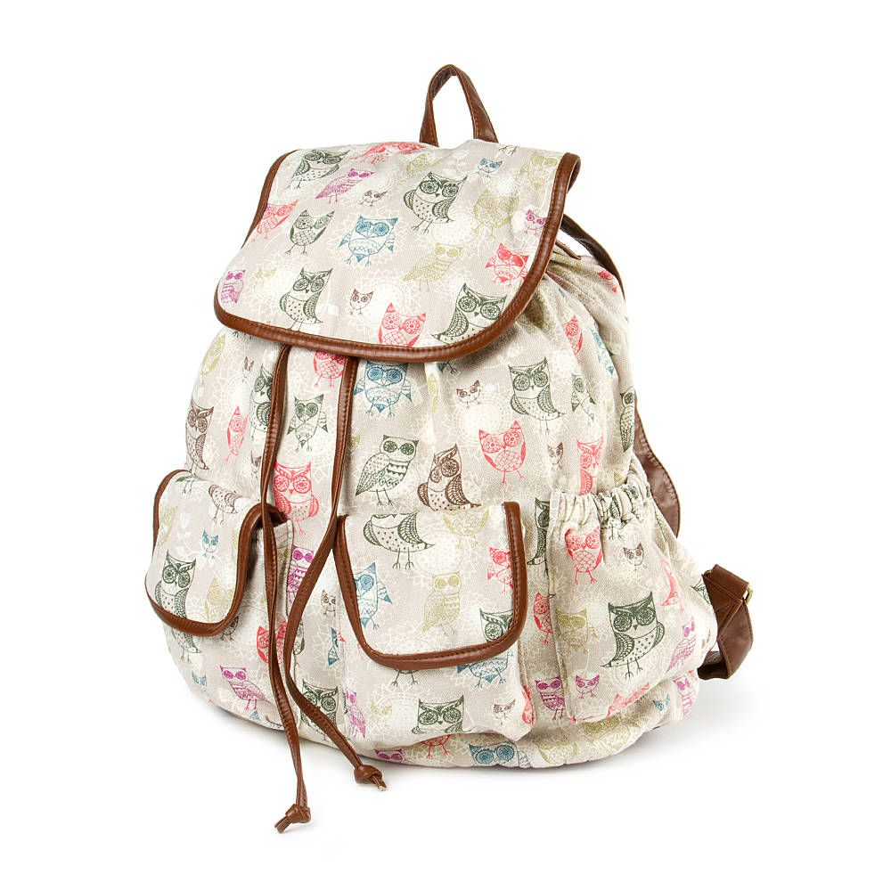 multicolored owl print backpack carry on pinterest owl print