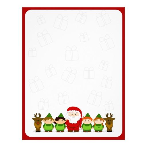 Santa Elves And Reindeer Christmas Letter Paper Customized