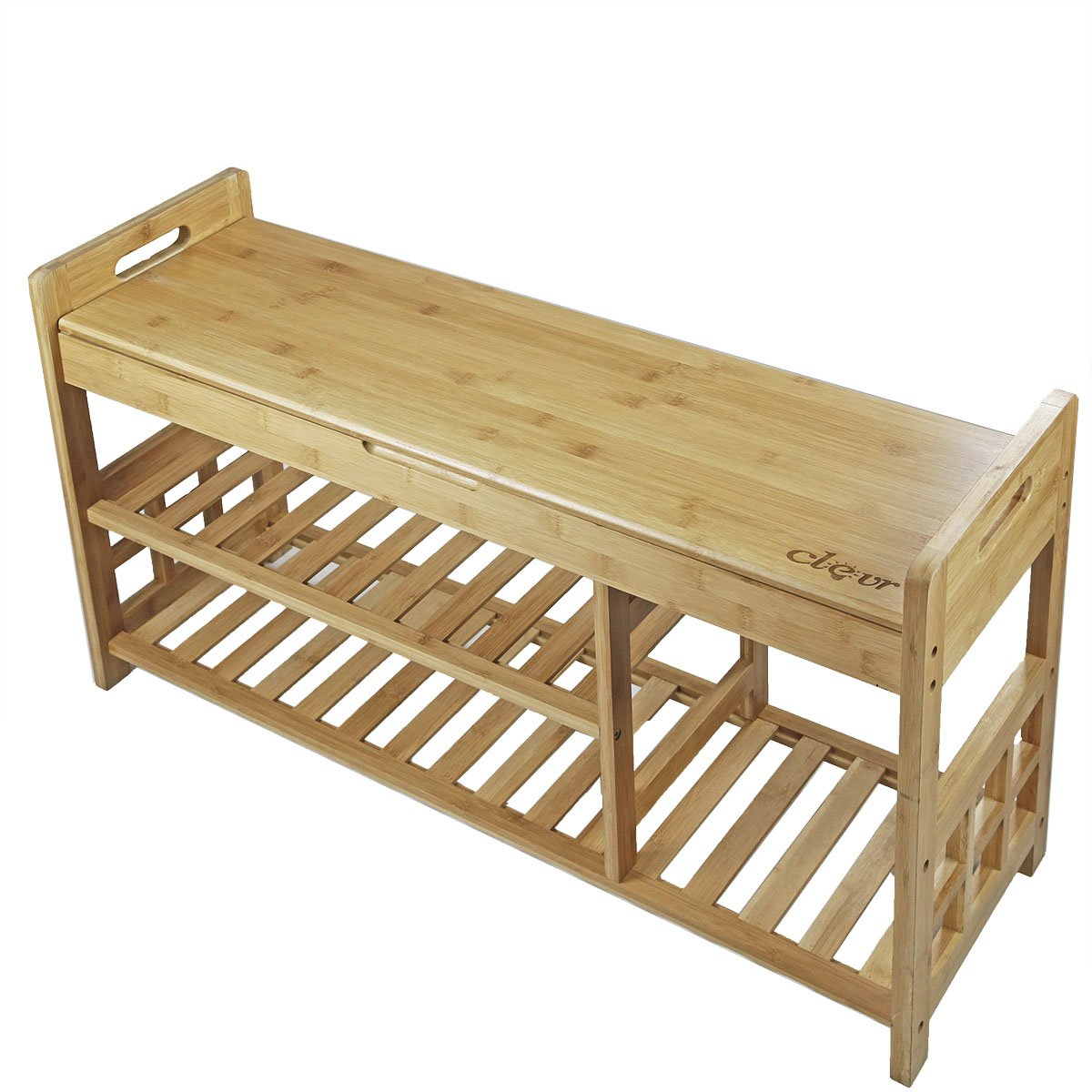 Natural bamboo shoe storage rack bench with tier storage drawer on