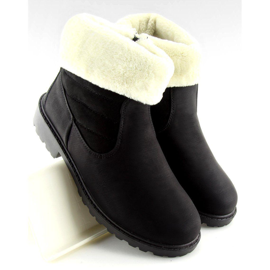 Botki Grubo Ocieplane Czarne Zy9210 Black Boots Womens Boots Black Boots