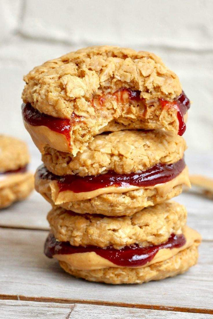 Healthy Flourless Peanut Butter & Jelly Cookie San