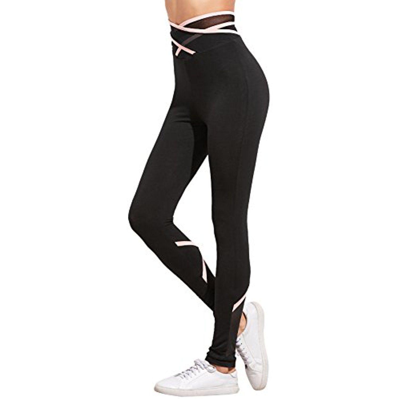 cae3b85b6ff0f SweatyRocks Women's Criss Cross Waist Yoga Pants Workout Leggings ** Check  out this great product