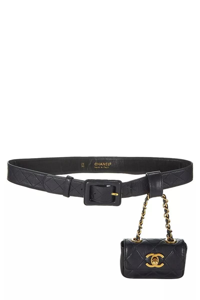 Chanel Black Quilted Lambskin Belt Bag Micro 75 What Goes Around Comes Around Vintage Chanel Bag Belt Bag Chanel Belt