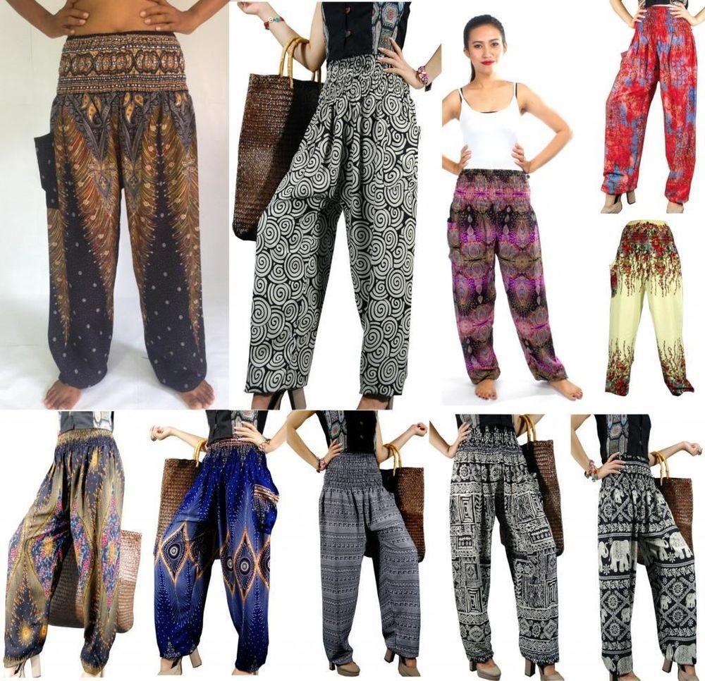 Thai Womens Yoga Pants Harem Trousers Festival Baggy Hippie Boho Casual Hareem