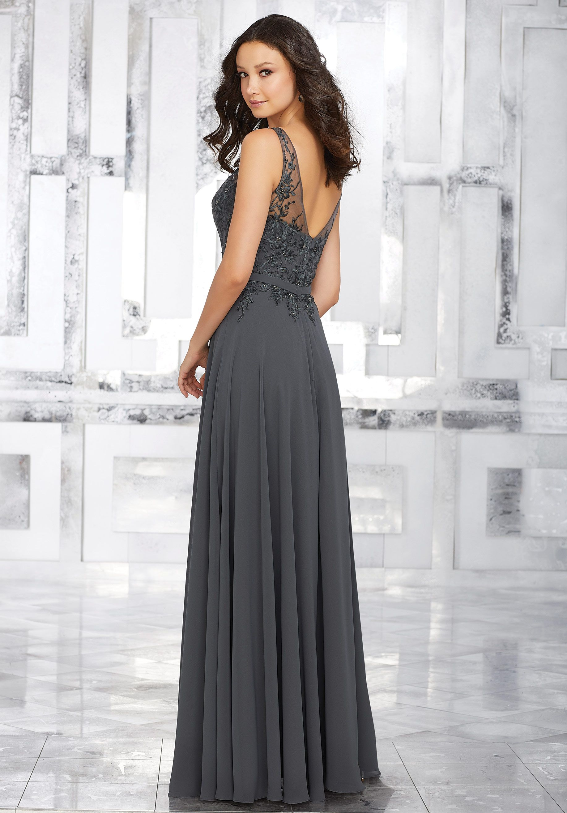 0a70ed06b2adc Elaborate Embroidery and Beading Accents the Bodice of This Beautiful Chiffon  Bridesmaids Dress. An Illusion Neckline and Matching Waistband Complete the  ...