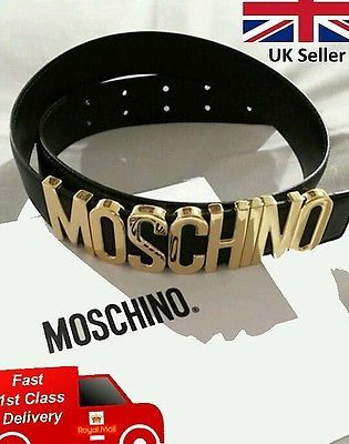 aa4ee72f170 Brand New Black Leather Belt With Metallic Gold Letters Moschino Belt Style