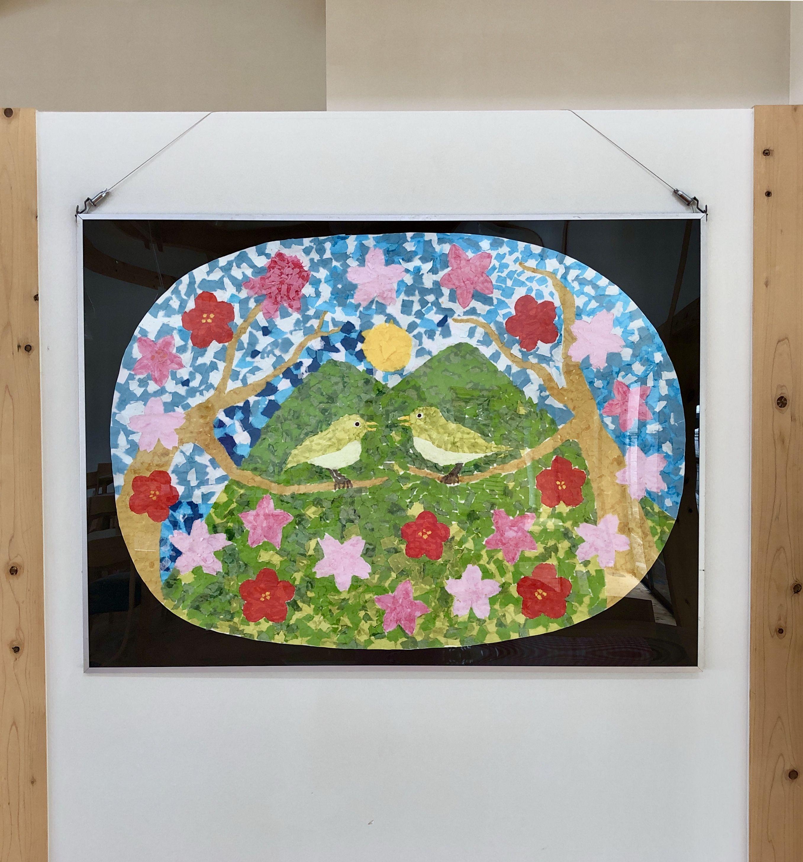 自分が下絵を描いて スタッフと利用者のみんなで制作した季節の貼り絵 ちぎり絵 を 施設の食堂に飾りました 今回は春がテーマで メジロや桜 桃 梅の花を描いています ただ今 夏がテーマの作品を制作中です 春の貼り絵 ちぎり絵 Spring Paper Art Collage