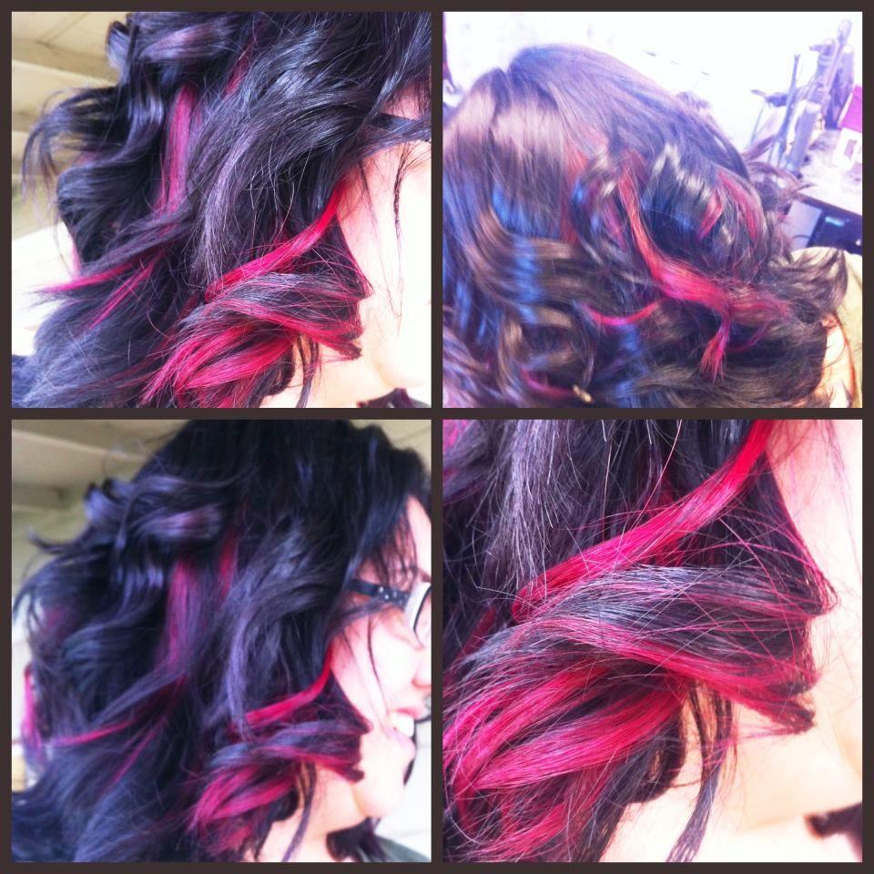 Red Peekaboo highlights over dark hair :) www.noraartistry.com