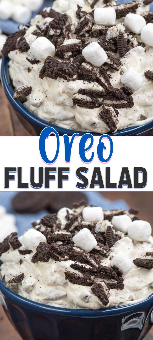 Easy Oreo Fluff Salad - a dessert salad full of pudding, whipped topping and Oreos! You can easily make this into WW Oreo Fluff too with some easy edits! #dessert #recipe #treats #easy #cookiesalad