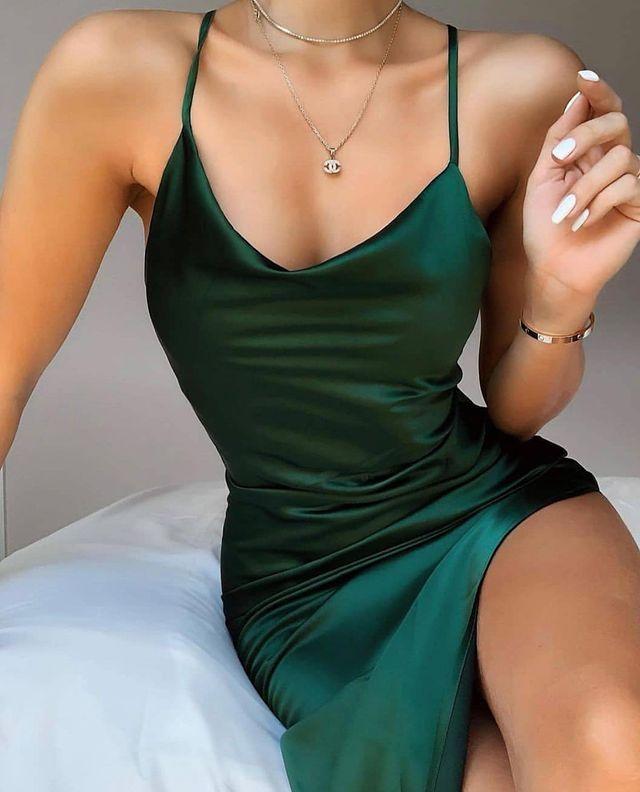 Sexy Bodycon Cowl Neck Green Short Evening Party D