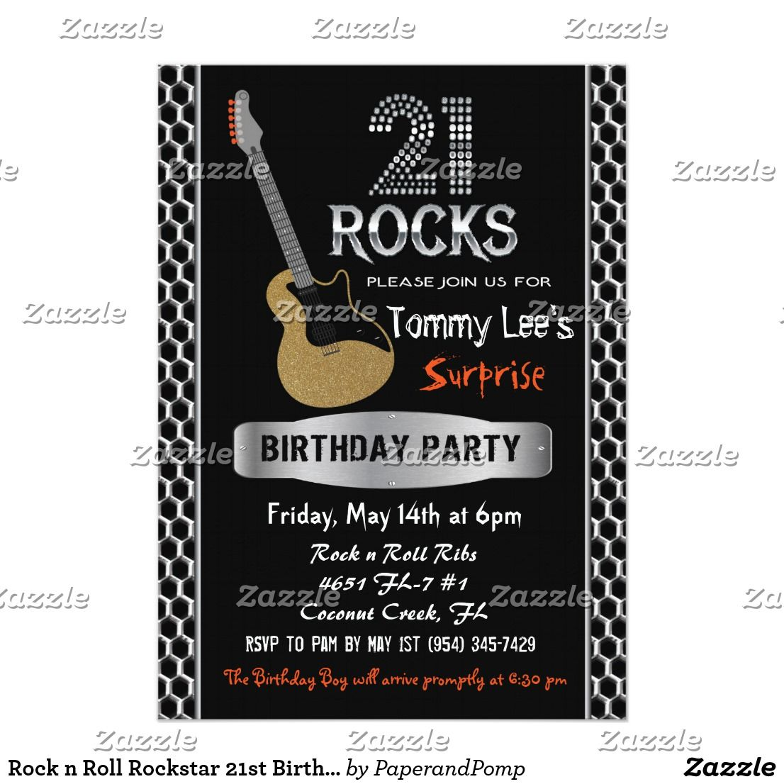 Rock n Roll Rockstar 21st Birthday Invitation | Birthdays