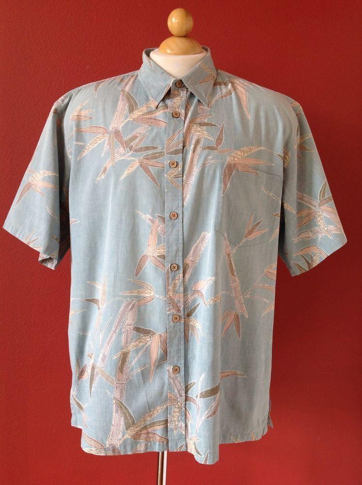 COOKE STREET Blue Beige Bamboo Print Cotton Hawaiian Shirt Size XL #CookeStreet #Hawaiian