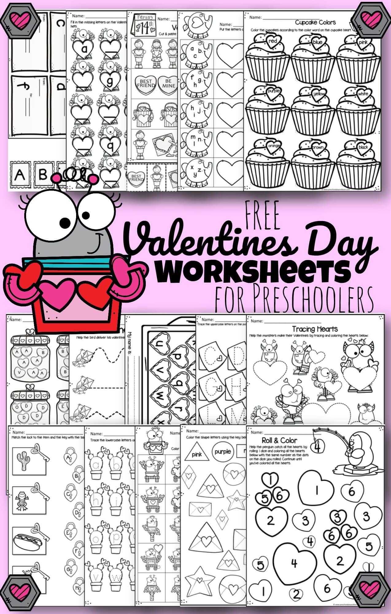 Free Valentines Day Worksheets Valentine Worksheets Math Valentines Kindergarten Valentines