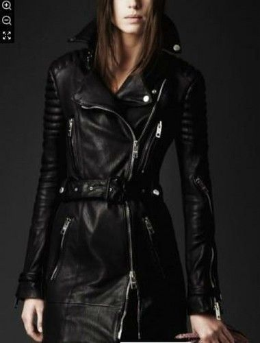 f1ee1d0f016e New Women Real leather jacket long moto cross pressed sleeve trench ...