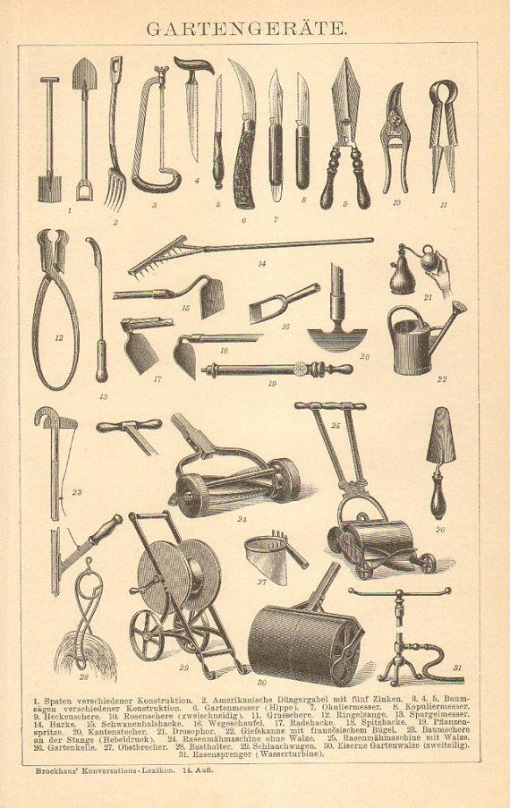 1905 gardening tools antique engraving to by for Instrumentos de jardineria
