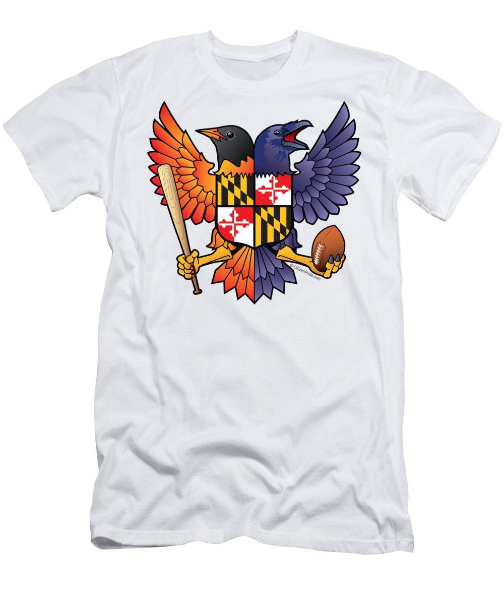 Birdland baltimore raven and oriole maryland shield mens t shirt athletic fit