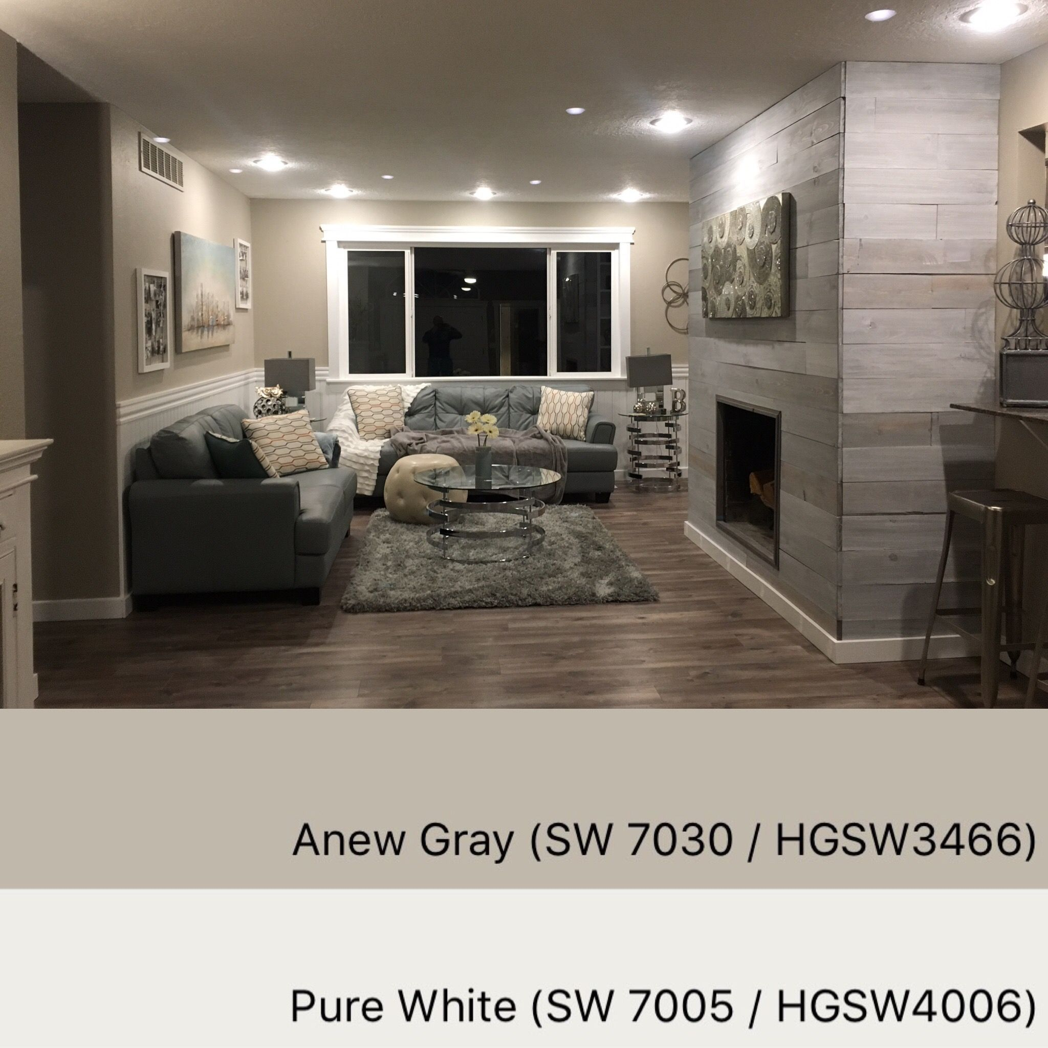 Best Sherwin Williams Paint Colors Anew Gray 7030 Pure White 7005 Small Basement Remodel 400 x 300