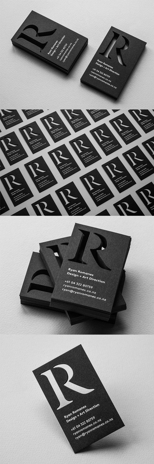 Sophisticated Black And White Custom Die Cut Business Card Design ...