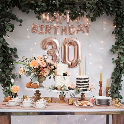 rose gold happy birthday foil balloon banner garland shower wedding party decor party fun. Black Bedroom Furniture Sets. Home Design Ideas