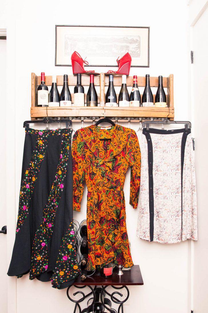 Inside Stylist Solange Franklin's Closet: Black and Floral Print Skirt, Orange Floral Print Dress, White Skirt with Black Details, Red Wedges, Wine | coveteur.com