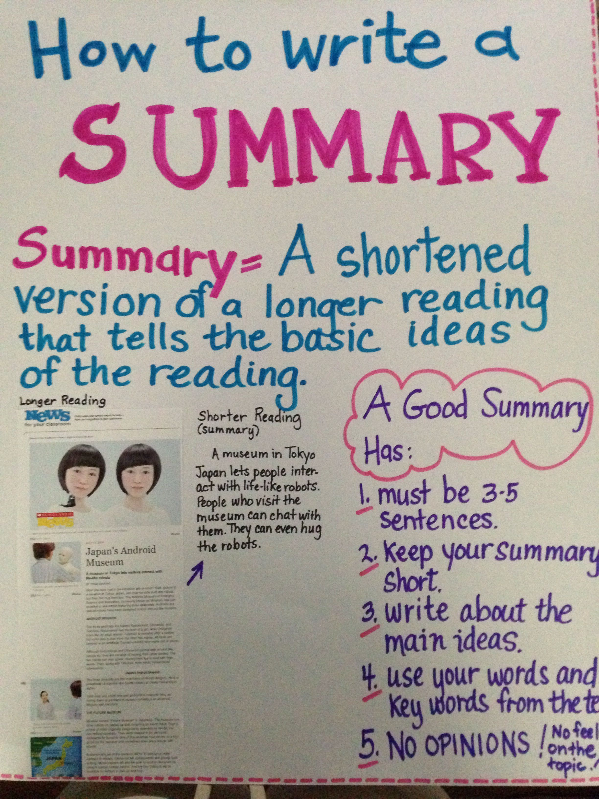 Summary Reading Content Summarizing Common Core Third