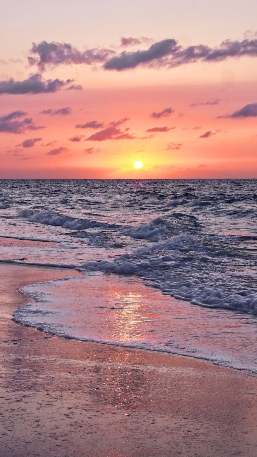 Coucher De Soleil Sur La Plage Beach Sunset Wallpaper Sunset Wallpaper Wallpaper Iphone Summer