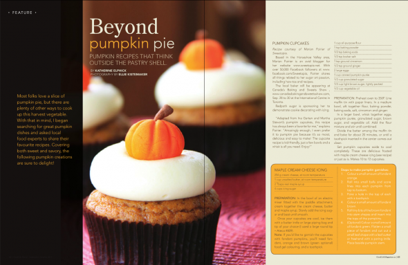 good life magazine feature - pumpkin cupcakes with maple cream cheese icing