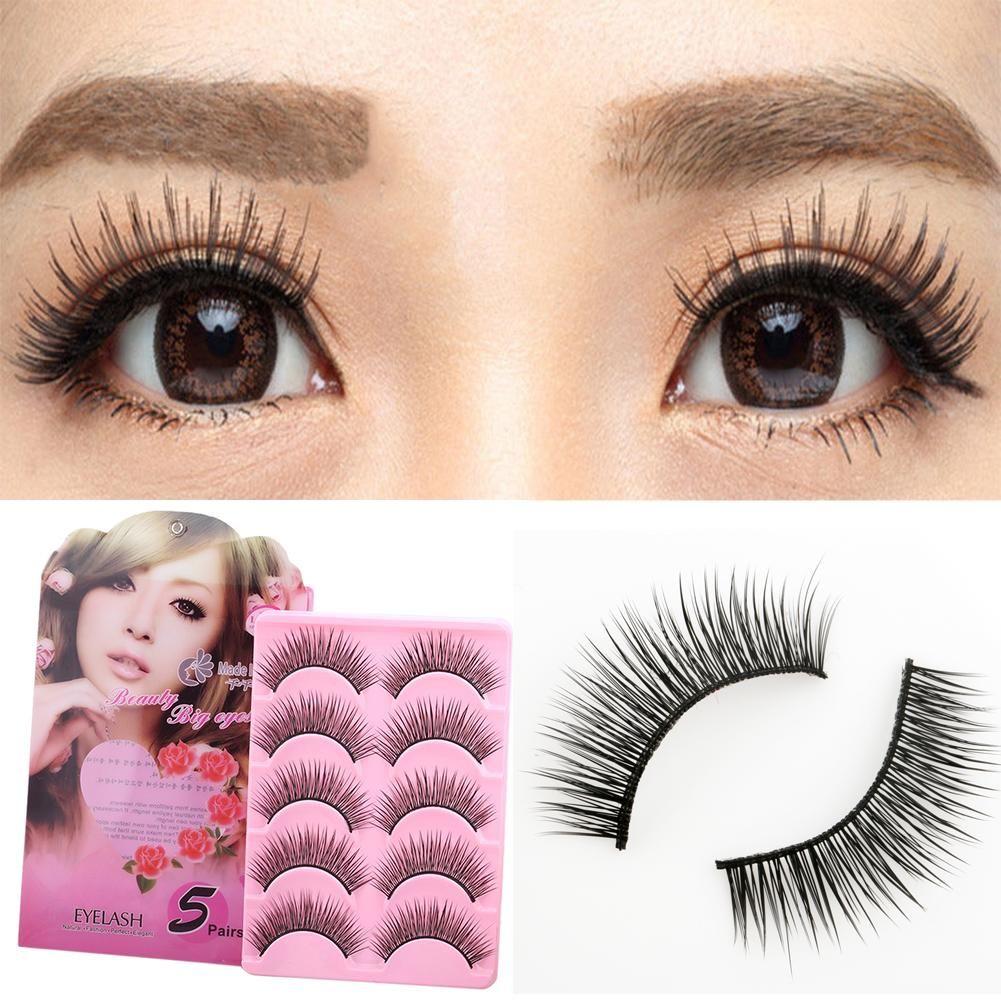 5 Paar lange, dicke, gekreuzte falsche Wimpern Wimpernverlängerungen Make-up-Kit – wie das Bild / eine Größe