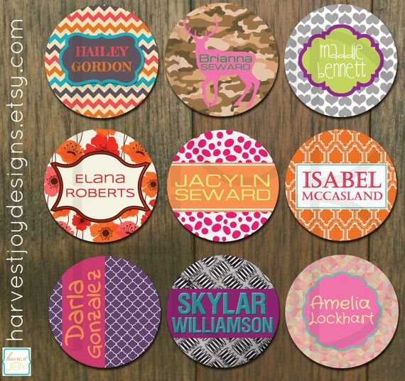 Round personalized sticker design for kids 2 inch round school label girl sticker label