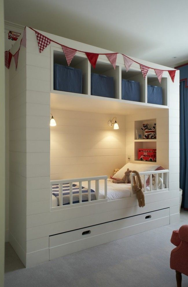 Kleine Räume mit praktischem Stauraum ausstatten Einrichten Kids - Schlafzimmer Einrichten Kleiner Raum