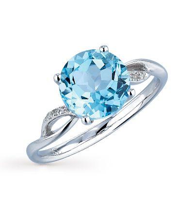 Золотое кольцо с бриллиантами и топазами купить по цене 8091 руб.: белое золото 585 пробы, топаз, 6 бриллиантов. Смотреть фото и описание 14184 - Sunlight Brilliant