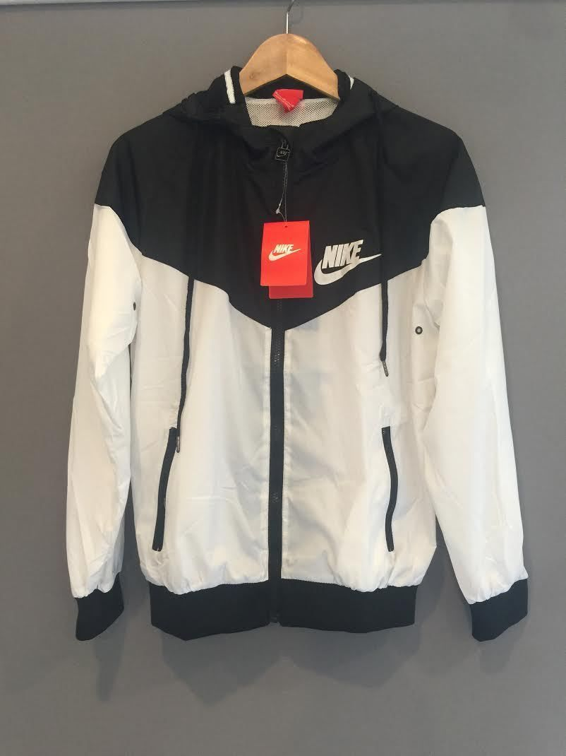 Nike Women Men Windrunner Black   White Sport Hooded Sweater Coat Jacket 3d1747b18