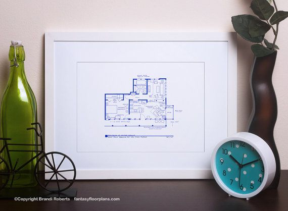 Dexter Apartment Floor Plan - TV Show BluePrint for Home of Dexter Morgan - Great gift for TV or Movie Nerd #bradybunchhouse