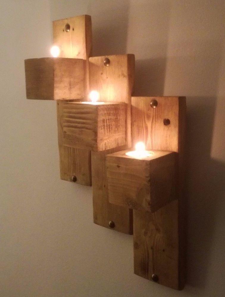 45cm Reclaimed Pallet Wood Floating Shelf Wall Sconce Tea Light