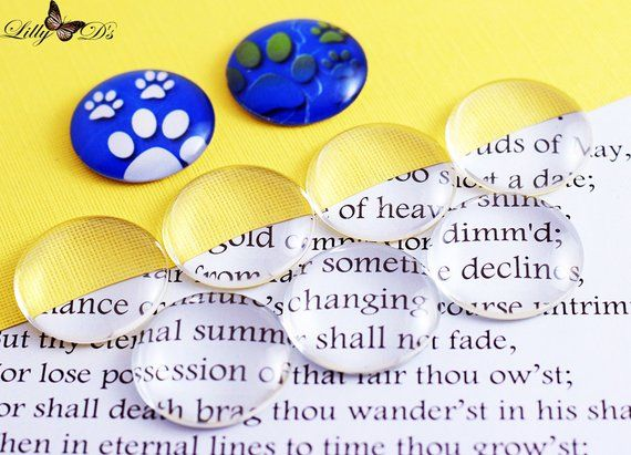 10- 30mm (1.25 inch) Round Domed Glass Cabochons - For bezel tray settings - Necklace bails - Genera