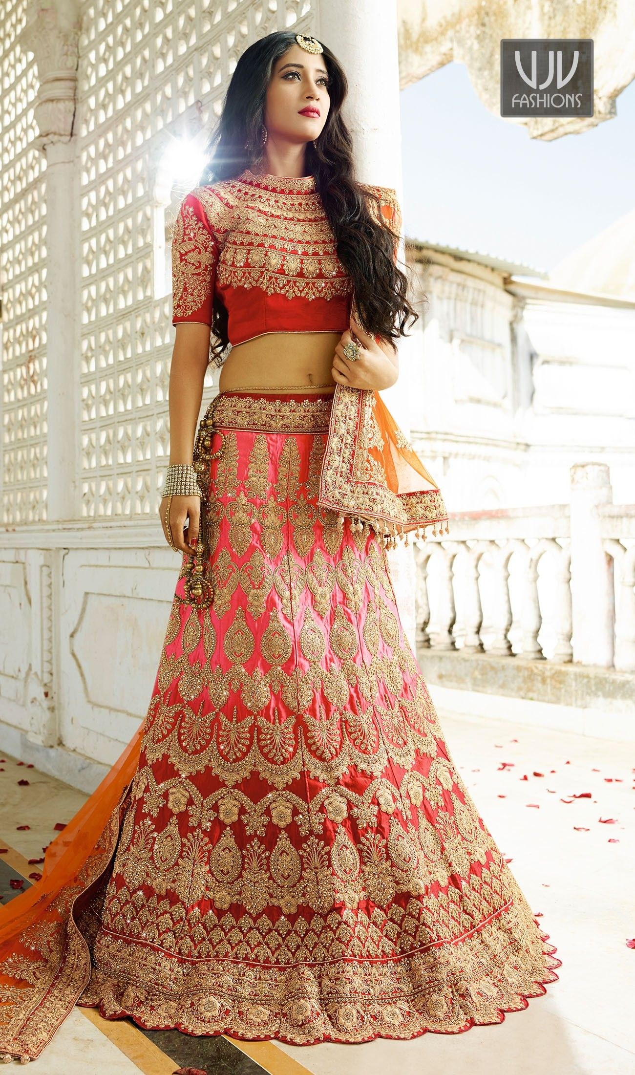 55541d0145 Shivangi Joshi Attractive Red And Pink Designer Lehenga Choli | good ...