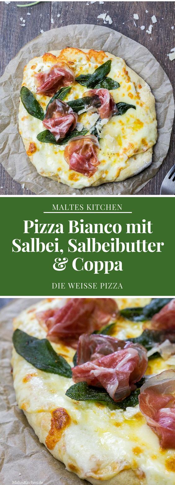 Pizza Bianco mit Salbei, Salbeibutter & Coppa