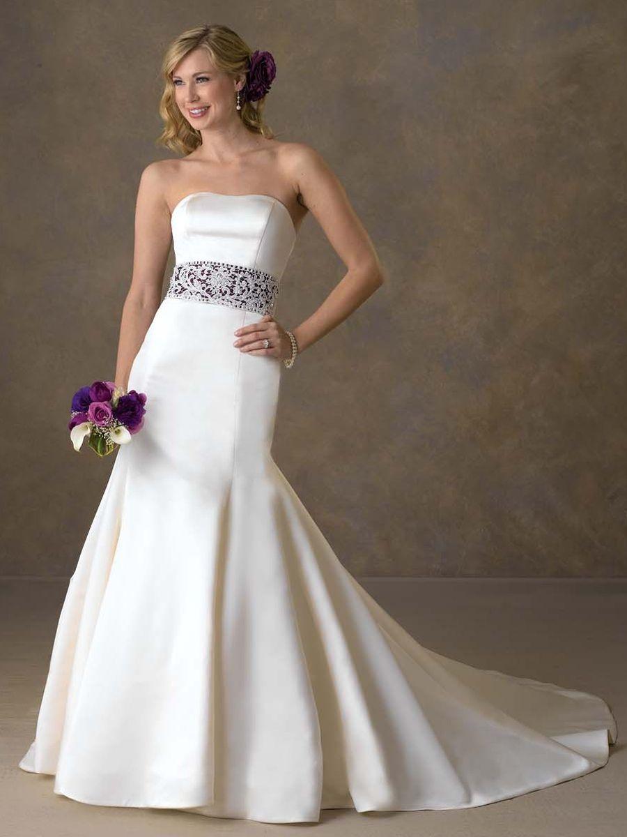 Distinctive satin strapless mermaid wedding dress wedding dresses