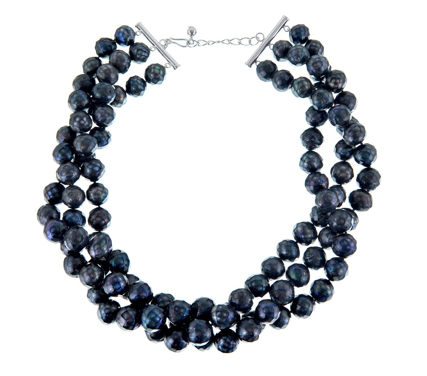 Faceted Large Black Freshwater Pearl Necklace
