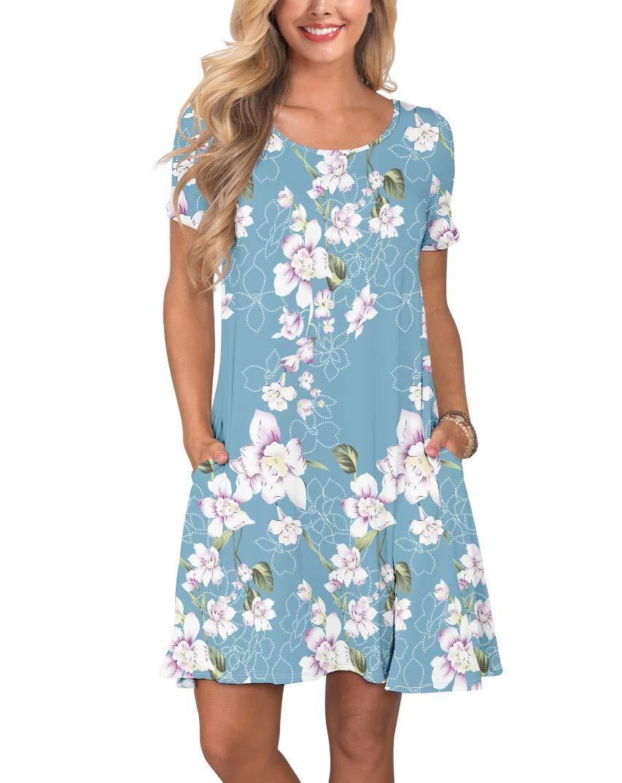 Summer Magnolia Pale Blue Swing Dress In 2021 Sleeved Swing Dress Swing Shirt Dress Summer Dresses For Women [ 1075 x 853 Pixel ]