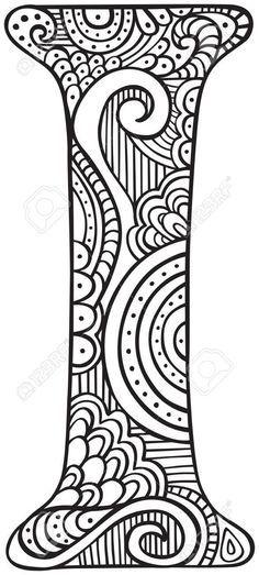 Dibujado a mano mayúscula I en negro - hoja para colorear para ...