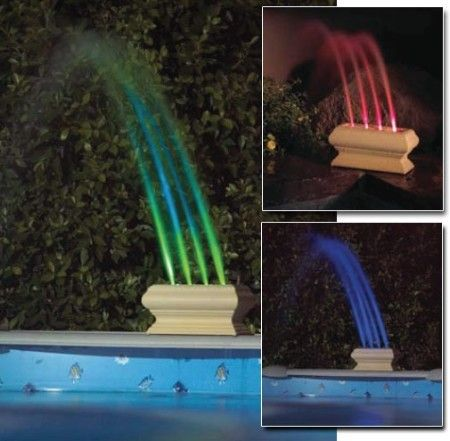 Love It This Swimming Pool Decor Continually Changes The Color Of Its Stream From Blue To Green To Red No Swimming Pool Landscaping Pool Fountain Cool Pools