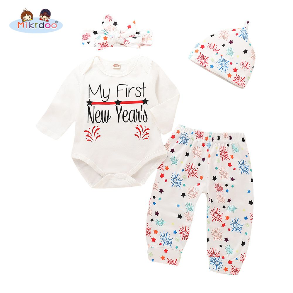 Newborn Infant Baby Girl Boy Letter Romper Bodysuit Clothes New Year/'s Outfits