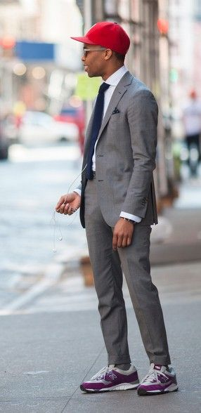 Gray suit and sneakers. Nice. | Suits